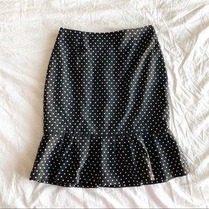 WHBM Polka Dot Ruffled Pencil Skirt